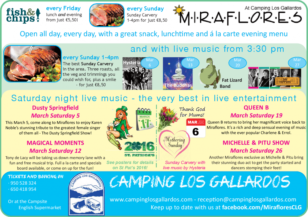 What's on at Miraflores this March 2016?